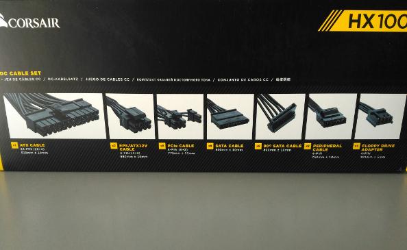 Изображения разъемов на коробке с Corsair HX1000