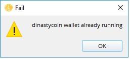 Dinastycoin Wallet ошибка при запуске кошелька