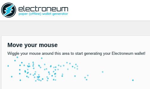 Процесс генерации бумажного electroneum wallet