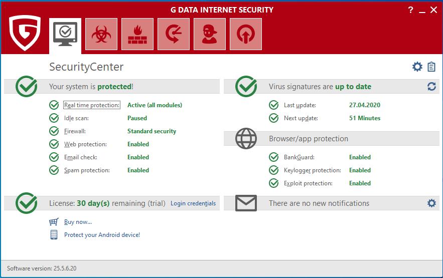 Главное окно программы G Data Internet Security 2020