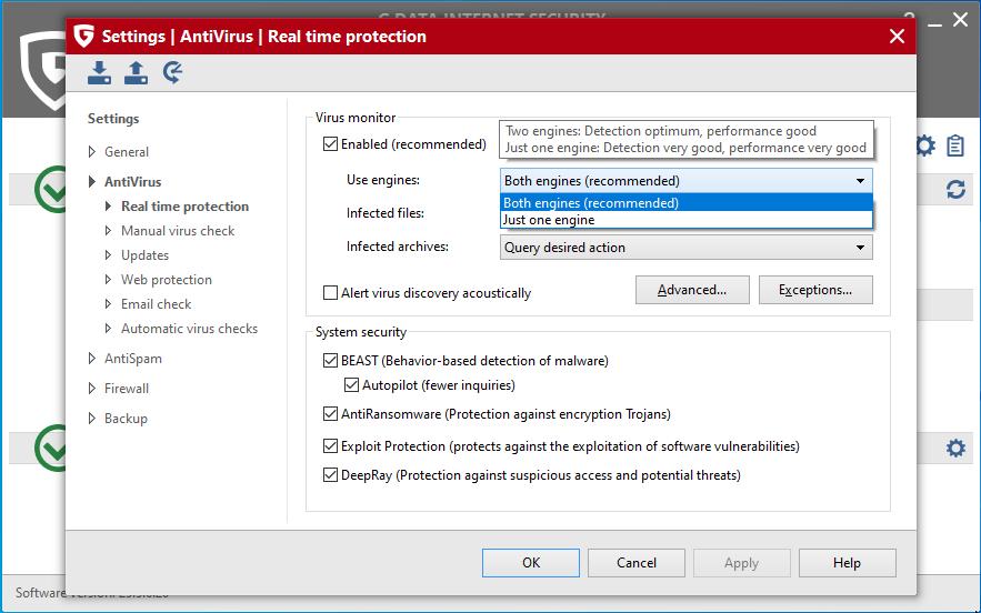 В G Data Internet Security настройка движков в антивирусном мониторе