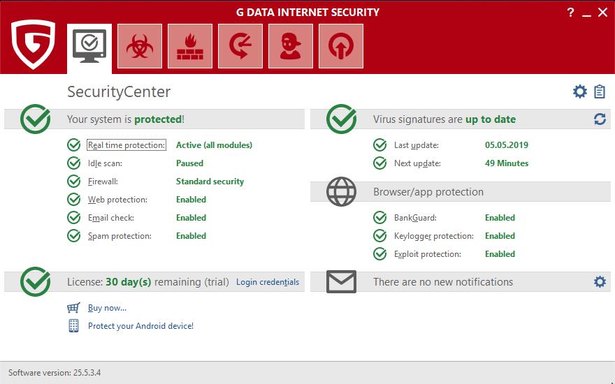 В G Data Internet Security 2019 настройка движков также присутствует