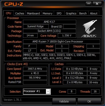 Процессор Ryzen 1800X работает на частоте 4 Ггц