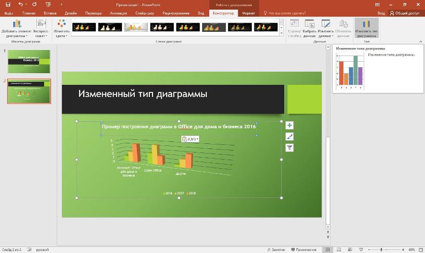 PowerPoint изменяю тип диаграммы на 3D