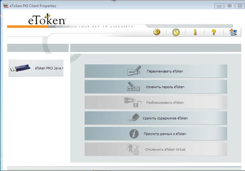 Подключенный eToken в PKI Client