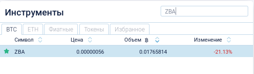 Покупка монет ZBA за BTC на бирже Crex24